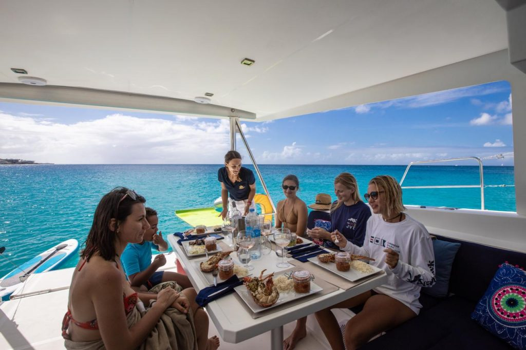 Finest Cuisine served on board our catamaran with a wonderful view