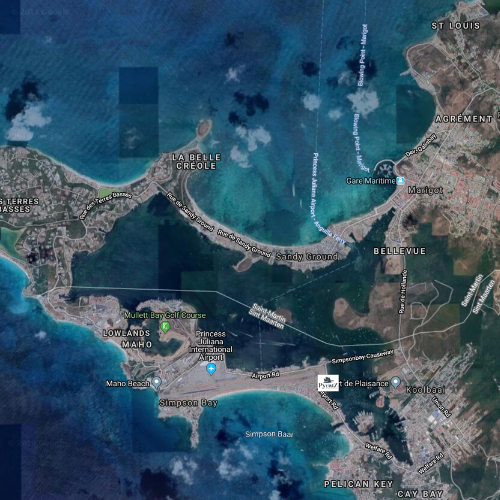 Map of St Maarten showing where the Pyratz dock is located
